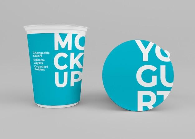 Yogurt cup mockup design isolato