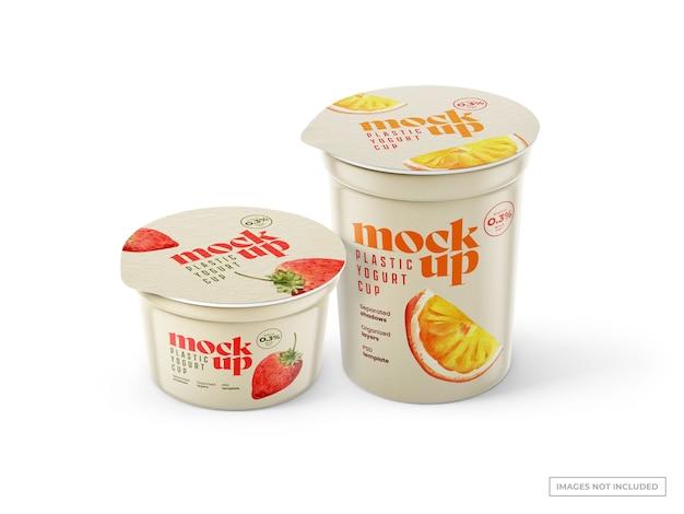Mockup di tazze di yogurt