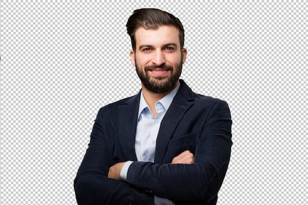 Posa fiero del giovane uomo d'affari