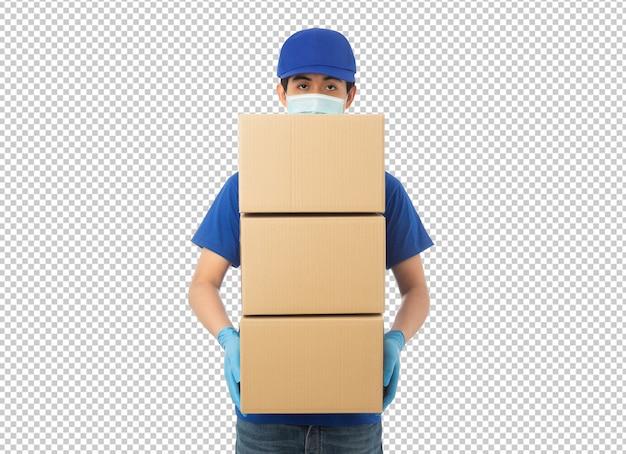 Giovane uomo di consegna che tiene il modello di scatola di cartone di carta