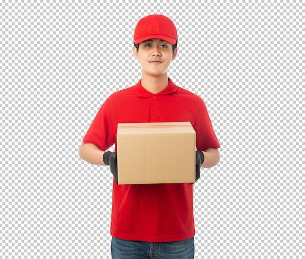 Giovane fattorino che tiene scatola di cartone di carta