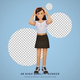 Illustrazione del personaggio 3d vertiginosa della ragazza della gente