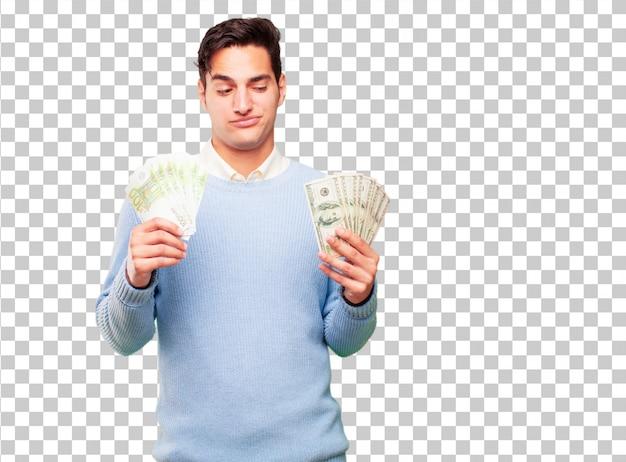 Giovane uomo bello abbronzato paga, acquisto o concetto di denaro
