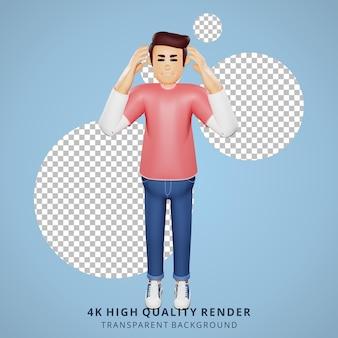 Illustrazione di personaggi 3d vertiginosi dei giovani