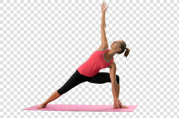 Giovane donna che fa esercizi di yoga, file psd a strati