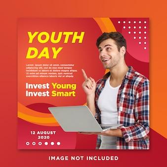 Modello post di social media instagram per la giornata dei giovani
