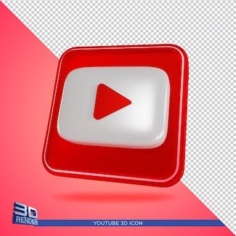 Youtube 3d rendering icona isolato