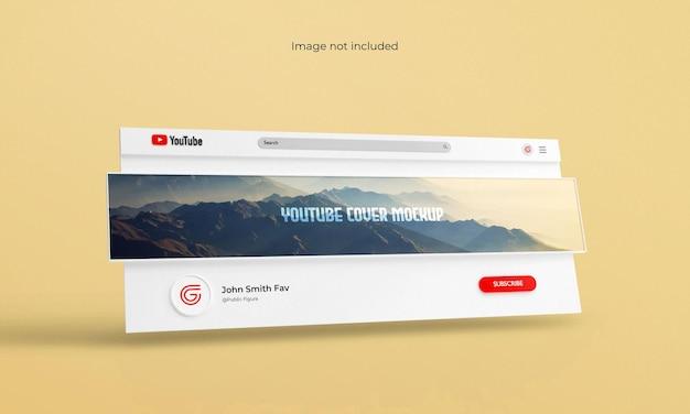 Interfaccia di rendering 3d di copertina o banner di youtube