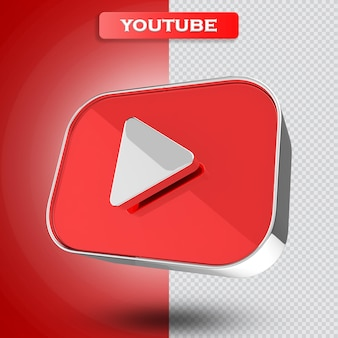 Icona di youtube rendering 3d moderno
