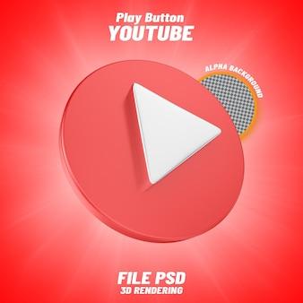 Rendering 3d dell'icona di youtube