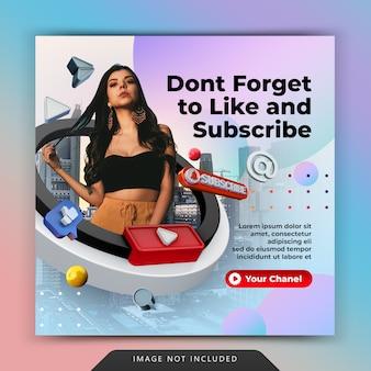 Youtube come e iscriviti alla promozione per il modello di post sui social media di instagram