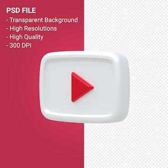 Rendering 3d del logo di youtube isolato