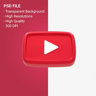 Rendering 3d del logo di youtube