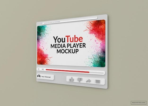 Mockup del lettore multimediale di youtube