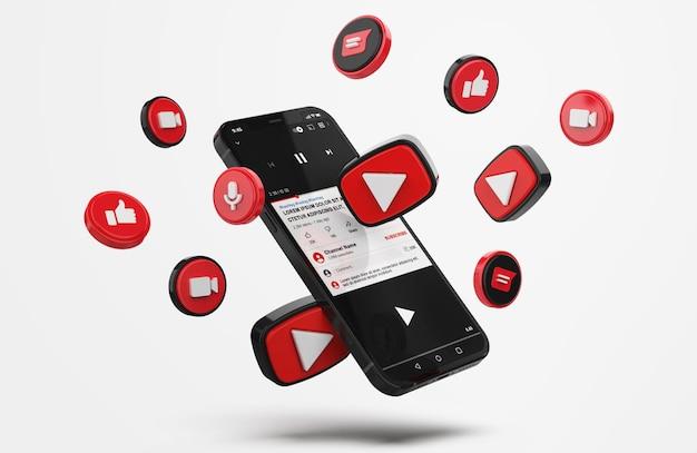 Youtube sul cellulare mockup con icone 3d Psd Premium