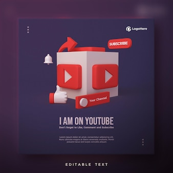 Post di youtube con l'icona del logo di youtube 3d resa