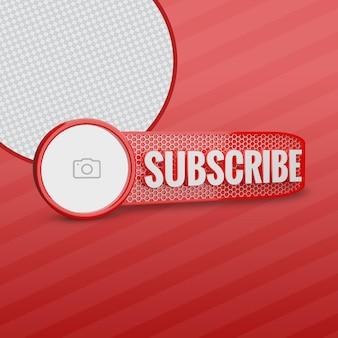 Abbonati youtube con logo del canale 3d