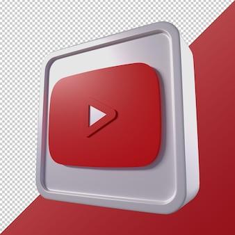 Logo di social media a forma quadrata 3d trasparente di youtube
