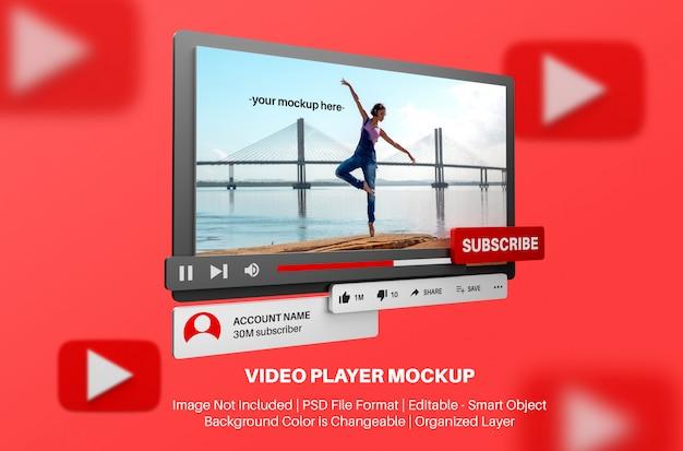 Mockup del lettore video youtube in stile 3d