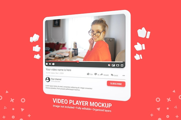 Mockup di lettore video di youtube 3d