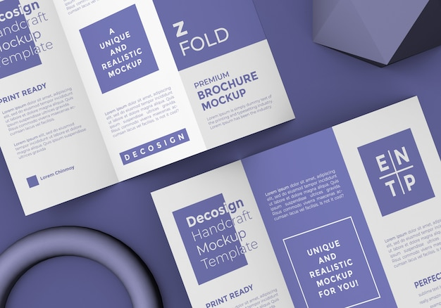 Brochure pieghevole a z mockup con oggetti 3d