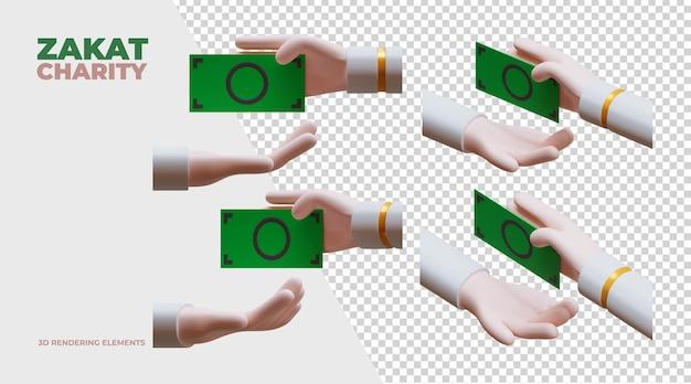 Zakat carità 3d rendering elements