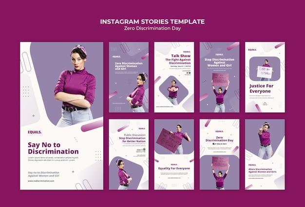 Storie di instagram di eventi per il giorno della discriminazione zero
