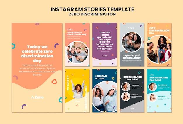 Set di storie di instagram per il giorno della discriminazione zero