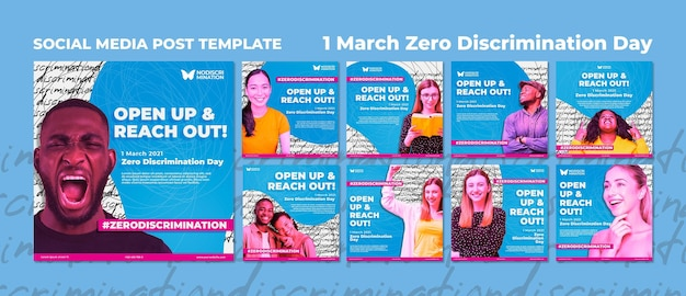 Post sui social media per il giorno della discriminazione zero Psd Premium