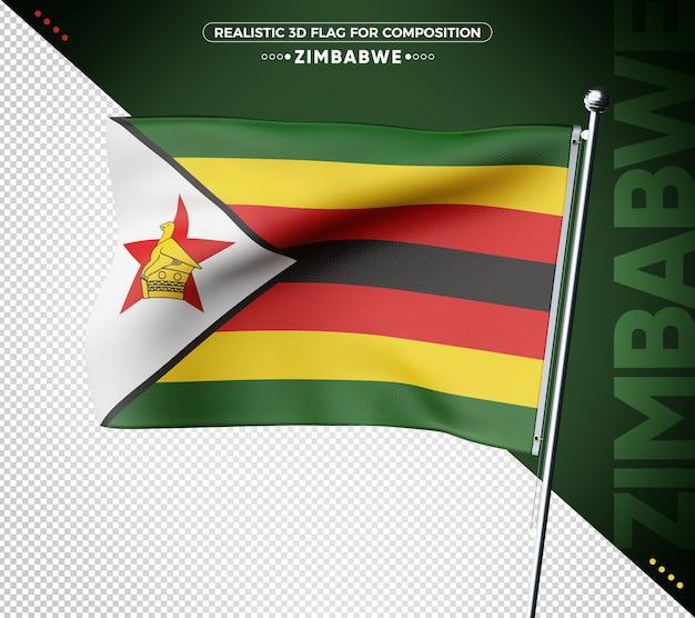 Bandiera dello zimbabwe 3d con texture realistica
