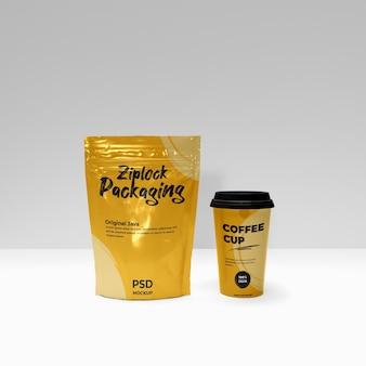 Scena di promozione mockup realistico con chiusura lampo e tazza di caffè