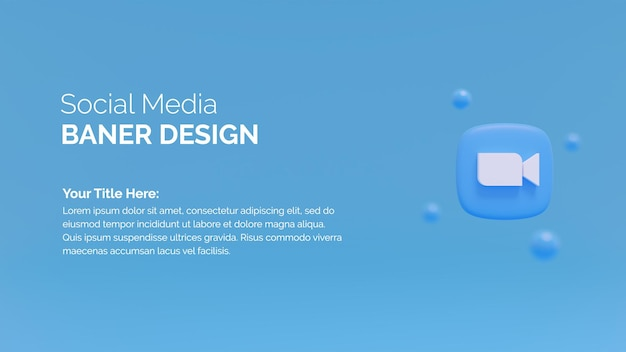 Icona del logo zoom sullo sfondo del rendering 3d