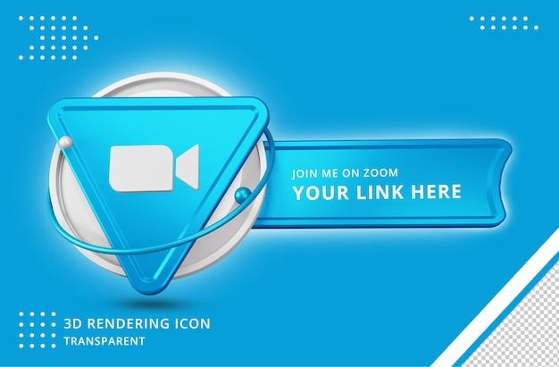 Icona del profilo di zoom nel rendering 3d isolato