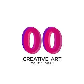 00 numero logo gradiente design colorato