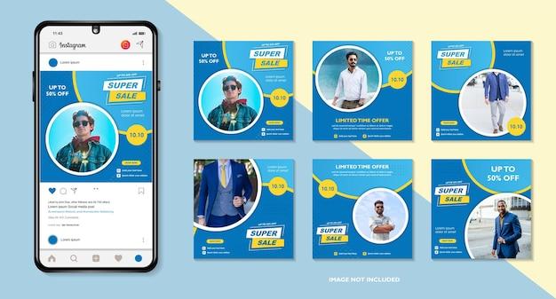 010 10 ottobre collezione di modelli di banner per social media con colore blu 10 10 mega vendita