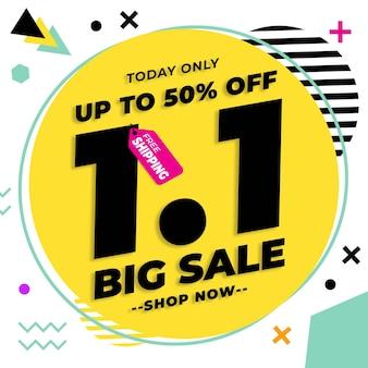 1.1 promozione del banner di vendita del giorno dello shopping con design in stile memphis isolato su sfondo bianco