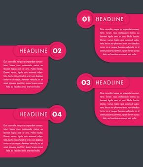1,2,3,4, etichette passo, timeline, elementi di design infografica, banner, illustrazione vettoriale