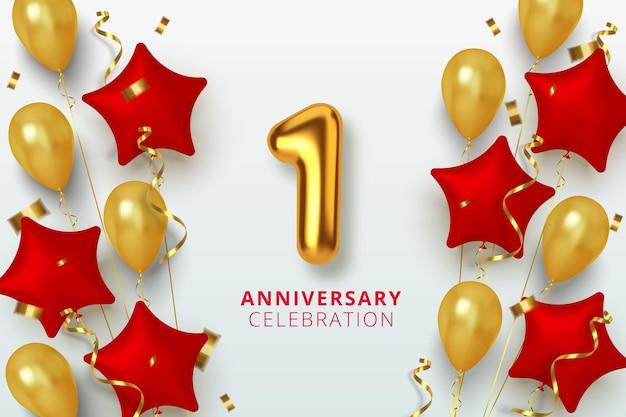 Celebrazione di 1 anniversario numero a forma di stella di palloncini dorati e rossi. numeri d'oro 3d realistici e coriandoli scintillanti, serpentine.