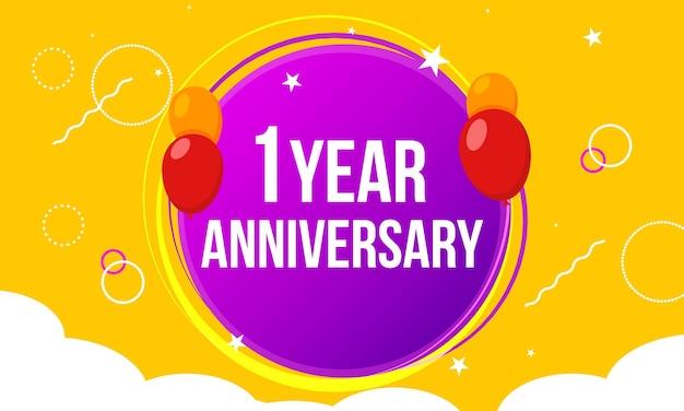 1 anniversario di buon compleanno primo invito celebrazione evento carta festa. palloncini modello 1° anniversario.
