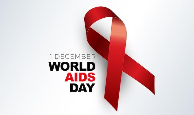1 dicembre concetto di giornata mondiale contro l'aids con il segno del nastro rosso.