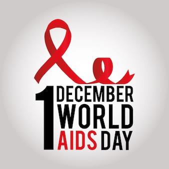 1 dicembre giornata mondiale dell'aids scritte e un nastro con un nodo su bianco illustrazione