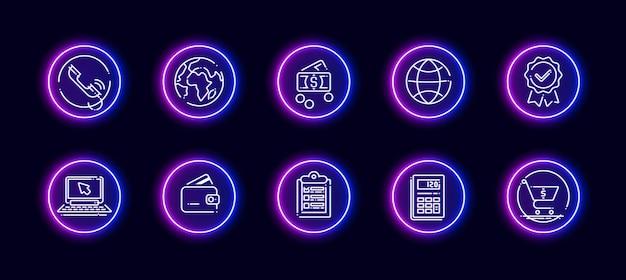 10 in 1 set di icone vettoriali relative al tema di calcolo. icone di vettore di lineart in stile bagliore al neon isolato su priorità bassa.