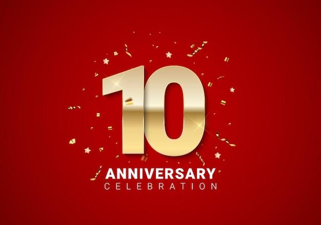 Sfondo di 10 anni con numeri d'oro, coriandoli, stelle su sfondo rosso brillante per le vacanze. illustrazione vettoriale eps10