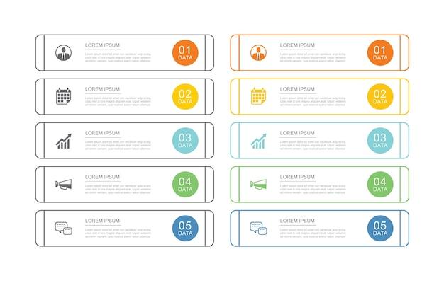 10 modello di indice della scheda infografica dati con linea sottile.