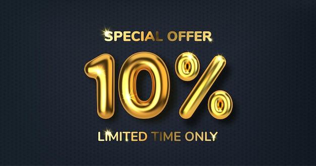 Vendita promozionale di 10 sconti fatta di palloncini d'oro 3d realistici. numero sotto forma di palloncini dorati.