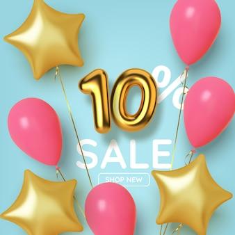 Vendita promozionale di 10 sconti con numeri realistici in oro 3d con palloncini e stelle. numero sotto forma di palloncini dorati.