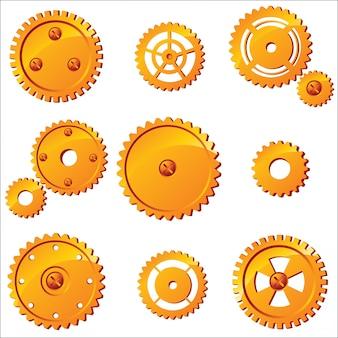 10 ingranaggi vettoriali arancione