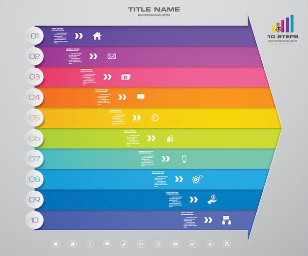 10 punti freccia infografica elemento grafico per la presentazione.