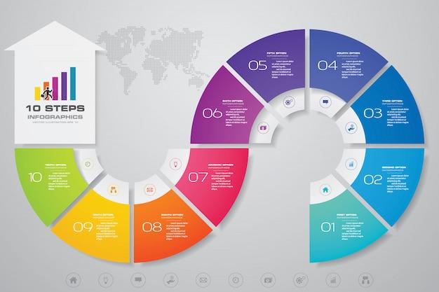 10 passi infographics elemento grafico della freccia.