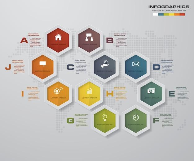 10 passi processano l'elemento di design per la presentazione.